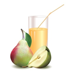 glass with juice pear with leaf and half vector image