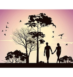 husband and wife holding hands and walking in the vector image vector image