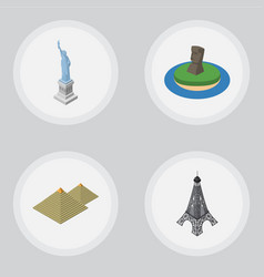 isometric travel set of chile egypt paris and vector image vector image
