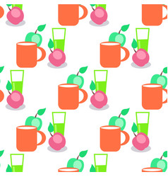 seamless pattern with red mug glass and apples vector image vector image