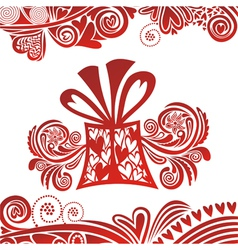 Valentines day card hearts gifts vector image vector image