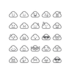 Collection of difference emoticon icon of cloud vector image vector image