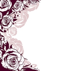 edge is decorated with flowers roses vector image vector image