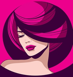 elegant girl with red lips vector image vector image