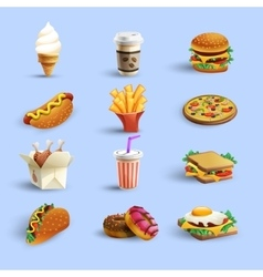 Fastfood icons cartoon set vector