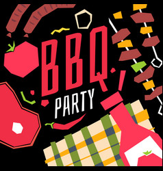 Modern poster bbq party with a checkered vector