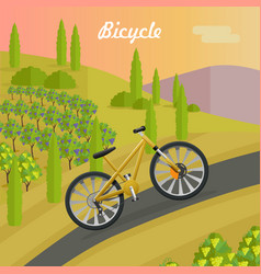 racing yellow bicycle on the asphalt track vector image