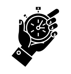 time management - hand timer icon vector image