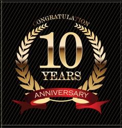 10 years anniversary golden laurel wreath vector