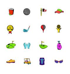 golf equipment icons set cartoon vector image