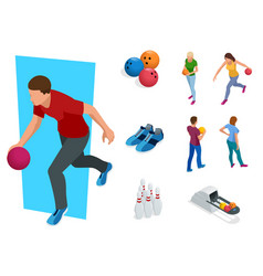 Isometric bowling realistic icons set with game vector