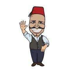 Turkish man waving hello vector image vector image