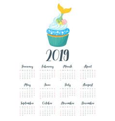 2019 year calendar with cupcake vector