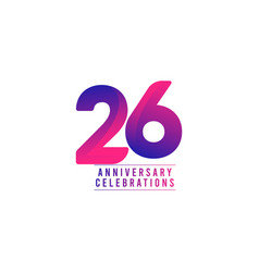 26 years anniversary celebrations template design vector