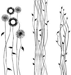 Abstract wild flower silhouettes vector