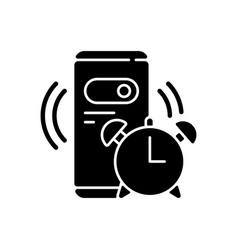 Alarm clock black glyph icon vector