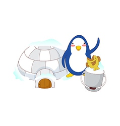 An igloo with penguin vector
