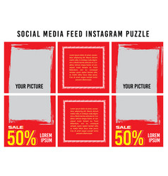 Banner puzzle post feed social media design vector