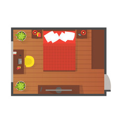 Bedroom modern interior top view detailed plan vector