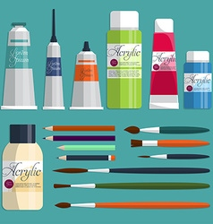 Big collection paints brushes and pencils on the vector image