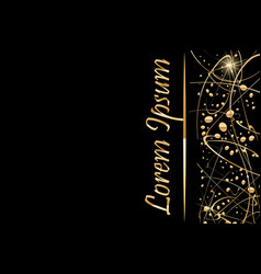 black background with gold abstract shapes vector image