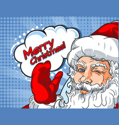 Blinking santa claus with hand up and the vector