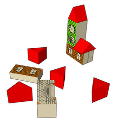 Blocks house toy or color vector