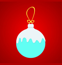 blue x-ball with white snow on yellow string vector image vector image