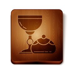 Brown jewish goblet and hanukkah sufganiyot icon vector