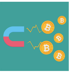 Business concept a magnet attracting bitcoins vector