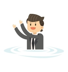 Businessman in water icon vector