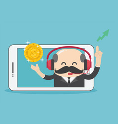 businessmen who are happy and showing success vector image