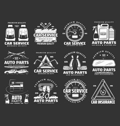 car parts motor oil and auto spare details icons vector image