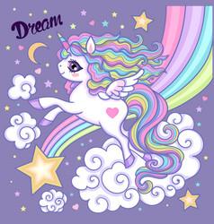 cartoon unicorn white rainbow unicorn vector image