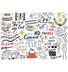 Cinema and film industry set hand drawn sketch vector