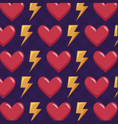 Classic video game hearts and rays pattern vector