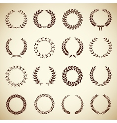 Collection of vintage laurel wreaths vector image