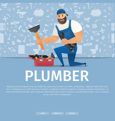Concept page plumber service vector