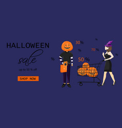 Couple dressed in halloween holiday outfit vector