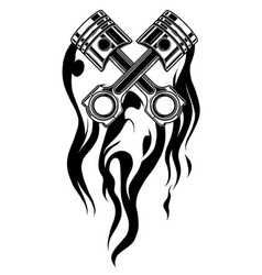 Crossed engine pistons banner and flame tattoo vector