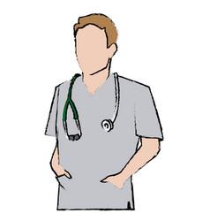 Doctor man wearing coat and hand in pocket vector