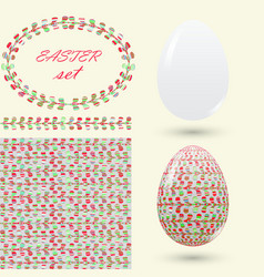 easter set with a handmade pattern motley vector image