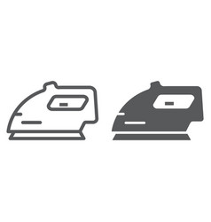 electric iron line and glyph icon home and vector image