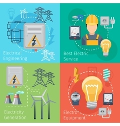 Electricity energy concepts set vector image