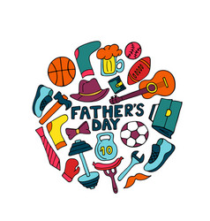 father s day banner in doodle style men s vector image