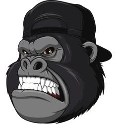 Ferocious gorilla in a cap vector