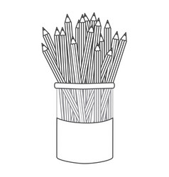 figure pencils color inside the butter jar icon vector image