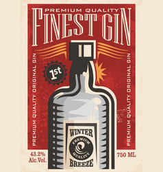finest gin retro poster ad with gin bottle on old vector image