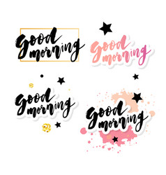 good morning lettering text calligraphy vector image
