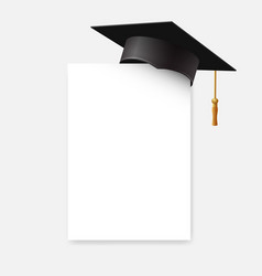 Graduation cap or mortar board on paper corner vector
